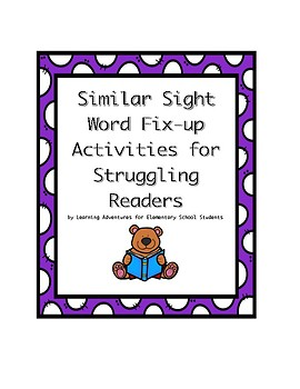 Similar Sight Word Fix-Up Activities for Struggling Readers