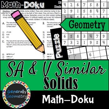 Similar Solids & Changing Dimension Math-Doku; Surface Area, Volume, Sudoku