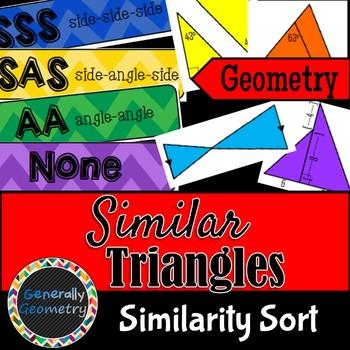 Similar Triangle Theorems Sort; Geometry, SSS, SAS, AA