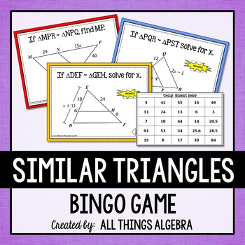 Similar Triangles Bingo Game