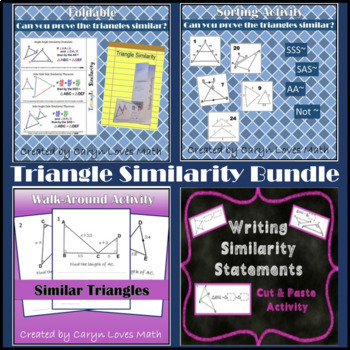 Similar Triangles Bundle~Similarity~4 Activities~Foldable~Sort