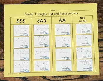 Similar Triangles: Cut and Paste Activity