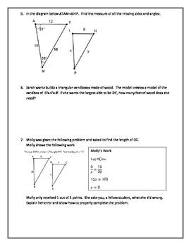 Similar Triangles Editable Word Document