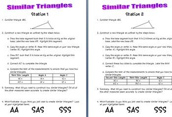 Similar Triangles Investigation SSS SAS AA