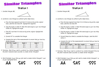 Similar Triangles Investigation SSS SAS AA