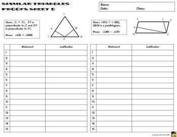 Similar Triangles Proofs - Two Column Proof Practice and Quiz