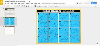 Similar Triangles (SSS~, SAS~, and AA~) Sorting Activity - GOOGLE SLIDES VERSION