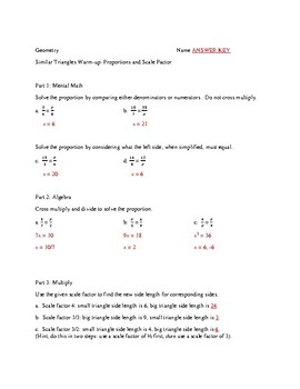 Similar Triangles Warm-up: Proportions and Scale Factor