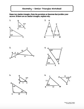 Similar Triangles Worksheet Bundle