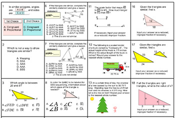 Similar Triangles with Trig, 7 Assignments for Power Point and Socrative