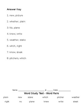 Similar Word Pairs Word Study Spelling Test