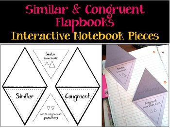 Similar and Congruent Interactive Notebook Pieces. Flapbooks with inserts