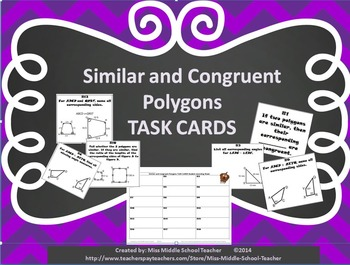 Similar and Congruent Polygons Task Cards