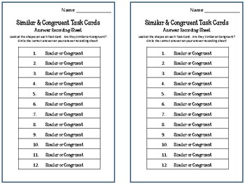 Similar and Congruent Task Cards.