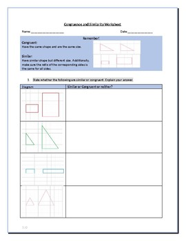 Similar and Congruent Worksheet