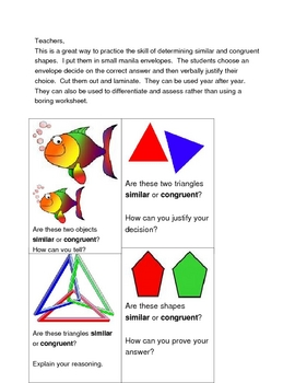 Similar or Congruent Task Cards