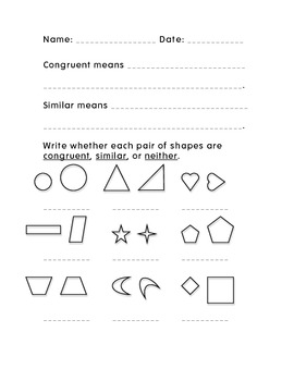 Similar/Congruent Worksheet
