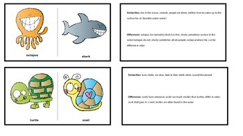 Similarities & Differences: Comparing & Contrasting Animals, Creatures, Insects