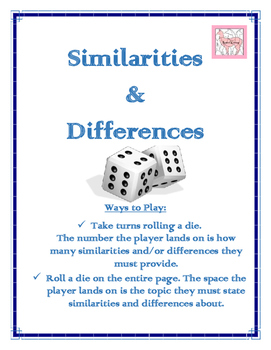 Similarities & Differences Dice Game