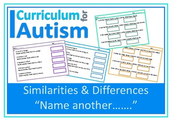 Similarities & Differences Categories Vocabulary Worksheets, Autism, Sped