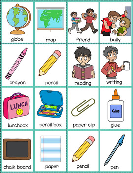 Compare and Contrast: School Vocabulary Cards