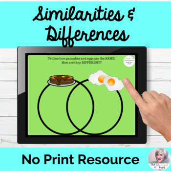 Similarities and Differences Venn Diagram Language Lesson NO PRINT Teletherapy