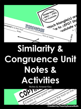 Similarity & Congruence Guided Notes & Activities BUNDLE