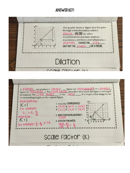Similarity Transformations Unit Foldable 8.G.A.3 8.G.A.4 Go Math