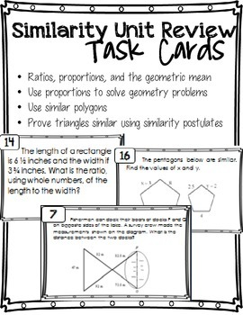 Similarity Unit Review Task Cards