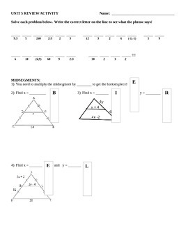 Similarity and Dilation Review Activity