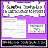 Similar Triangles & Intro to Proofs Editable Study Guide & Test (Unit 2 Part 1)