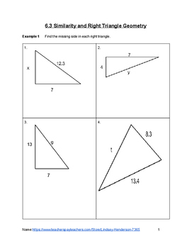 Similarity and Right Triangle Trig Lesson 3 of 3