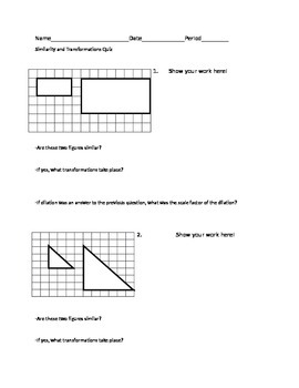Similarity and Transformations Quiz/Practice