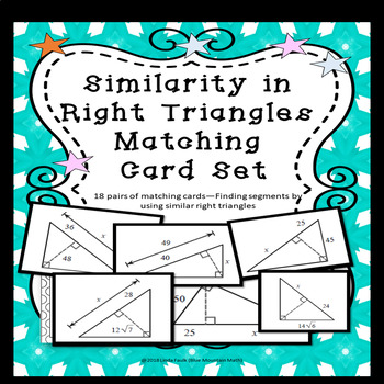 Similarity in Right Triangles Matching Card Set with Differentiation Cards