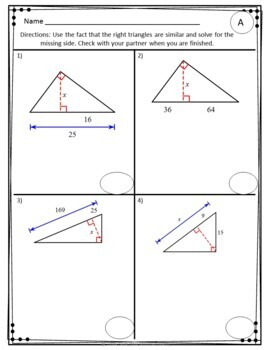Similarity in Right Triangles Partner Practice