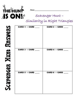 Similarity in Right Triangles Scavenger Hunt Activity