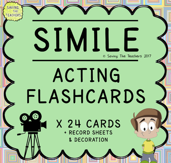 Figurative Language Acting Activity Flash Cards: Similes