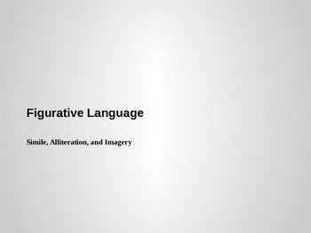 Simile, Alliteration, and Imagery Powerpoint (Figurative Language)