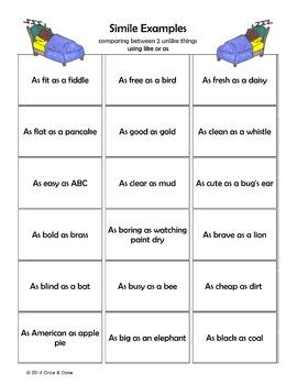 Simile Center Activity Figurative Language
