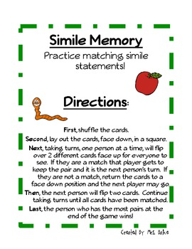 Simile Center Game: Memory