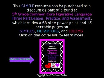 Similes Common Core Lesson, Practice, and Assessment