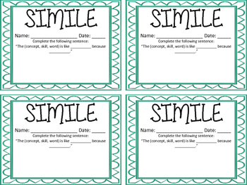 Simile Exit Ticket