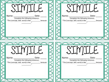 Simile Exit Ticket