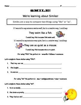 Simile Instruction Worksheet