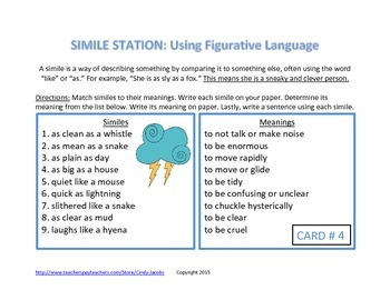 Simile Learning Station Learning Center Figurative Language