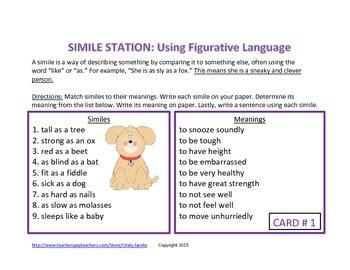 Simile Learning Station Learning Center Figurative Language
