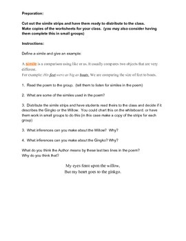 Simile Lesson and Activity With Student Worksheets