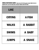 Simile Matching Game- Using LIKE  (Elementary/Early Middle)