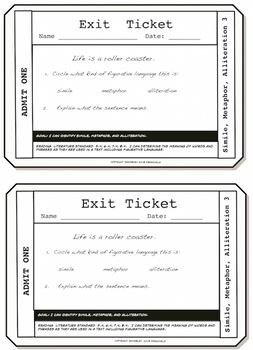 Simile, Metaphor, Alliteration Exit Tickets