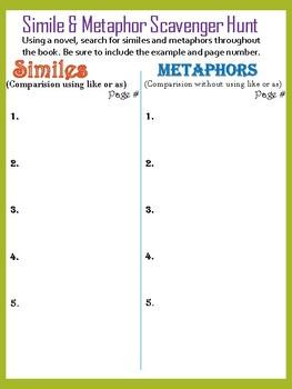 Simile & Metaphor Book Hunt